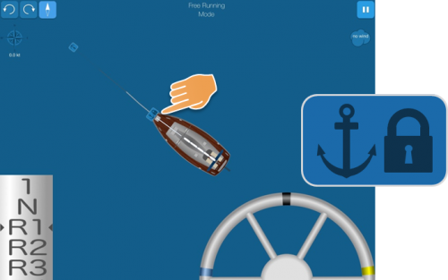 Lock the anchor chain by clicking the symbol on the boat