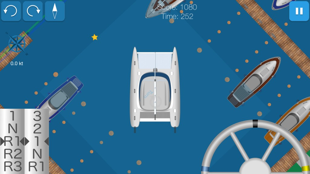 Scene from the Hafenskipper app: maneuvering the new catamaran.